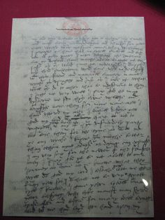 Letter by the Queen Dowager Katherine Parr to her husband, Thomas Seymour.   The Dowager Queen's letter from Hanworth is preserved at Sudeley Castle © Meg McGath, 2012.