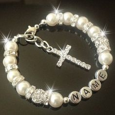 Cross Personalised Bracelet holy  Communion Christening confirmation