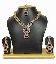 2-line dailywear kundan necklace set in maroon
