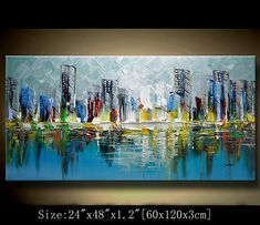 A new type of Abstract Wall Painting,contemporary wall art ,Impasto cityscape Landscape Painting,Palette Knife Painting on Canvas by Chen Abstract City, Abstract Canvas, Canvas Art, Green Paintings, Landscape Paintings, City Landscape, Palette Knife Painting, Contemporary Wall Art, Office Decorations