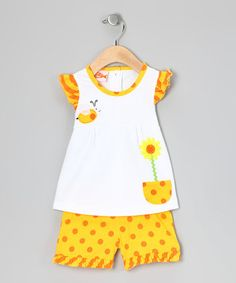 Yellow Ruffled Sunflower Top & Shorts - Infant, Toddler & Girls by Totally Trixie on #zulilyUK today!
