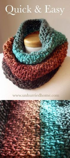 """This quick and easy cowl uses the """"Three Turn Cowl"""" knitting pattern from http://CreatingLaura.com; the yarn is Freia Handpaint Yarns' Super Bulky in Canyon. It was a great last-minute Christmas gift, knitting up in less than 24 hours."""
