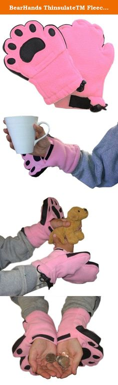 "BearHands ThinsulateTM Fleece Mittens - with handy flap opening for when fingers are needed! (Child Large 8 - 12 years) - Light Pink. On a ski trip in 2002, Father and Son, Jeff and Zach Golden, figured there had to be a better way to keep hands warm while accessing their fingers to wipe goggles, blow nose, etc, without removing their gloves on the ski lift. Over a year later, they teamed up with their resident ""buddy"" Mike Wolinsky, and BearHands were born. Combining fun and…"