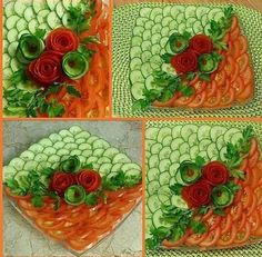 Amazing Food Decoration, Salad Decoration Ideas, Amazing Food Art, Fruit And Vegetable Carving, Veggie Tray, Food Crafts, Diy Food, Party Food Platters, Food Art For Kids