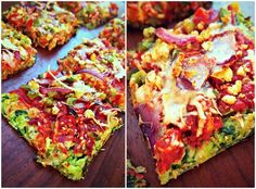 Veggie Pizza With Spinach & Cauliflower Crust! (80 Cal Per Slice)-- For a night when I have the time and $$$!