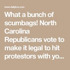 What a bunch of scumbags!  North Carolina Republicans vote to make it legal to hit protestors with your car