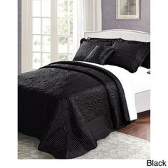 Buy Home Soft Things Bondi Band Serenta Quilted Satin 4 Piece Bedspread Set, Queen, Black Bed Sheet Sets, Bed Sheets, Paisley Bedding, Satin Bedding, Online Bedding Stores, Bnf, Bed Mattress, Dust Mites, Quilt Sets