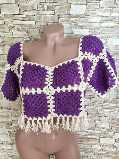Granny square crochet top Boho chic summer sweater for women | Etsy Crochet Toddler, Crochet For Kids, Summer Sweaters, Sweaters For Women, Granny Square Sweater, Crochet Fringe, Crop Top Sweater, Crochet Crop Top, Hippie Outfits