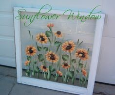 Hand painted vintage window with sunflowers