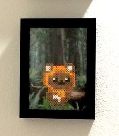 Star Wars Wicket the Ewok perler bead 5x7 frame by CustomationsArt
