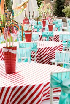 red aqua theme kids party, dr.seuss?  #kidsparty