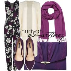 Purpler floral print jumpsuit paired with off white cardigan, purpler scarf, envelope clutch, and suede pumps