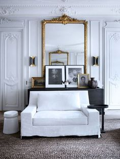 Look We Love: Black & White & Gold | Apartment Therapy: black and white and gold in the Paris apartment of Patrick Gilles and Dorothée Boissier, spotted on Share Design.