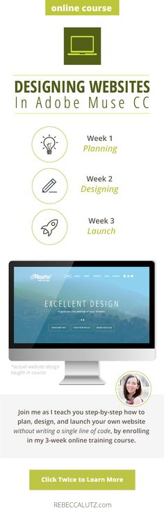 Learn how to design your own website step-by-step in Adobe Muse CC, without needing to write a single line of code. No-code website? I'm in! You also receive a beautiful template that you can modify and use however you'd like!