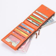 2016 Best Selling Fashion Women Zipper Wallet PU leather Folding Purse Lady Candy Color Bank Credit Card Holder Bag 08-4