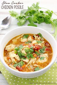 Slow Cooker Chicken Posole soup, uses green enchilada sauce