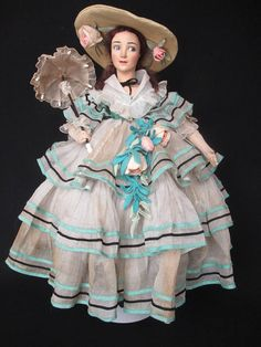 """A rare and collectable Lenci """"celebrity doll"""" known as """"Raquel Meller"""" from SnowdriftAntiques.  This doll is known as a Lenci """"celebrity doll"""". The Lenci line included several dolls that were created to represent and were named for film stars and other celebrities of the period."""