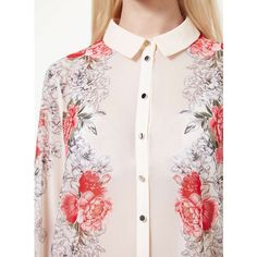 Miss Selfridge Border Print Long Sleeve Shirt (6210 RSD) ❤ liked on Polyvore featuring tops, assorted, floral print shirt, pink top, floral shirt, long sleeve shirts and floral chiffon top