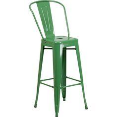 30-Inch High Metal Indoor-Outdoor Barstool with Back - Green