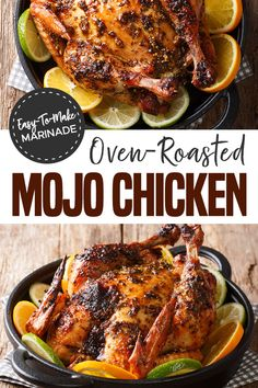 Are you tired of bland chicken? There's nothing bland about this Oven-Roasted Mojo Chicken recipe. The marinade makes the chicken juicy with a burst of flavor. When you make this recipe it is sure to be a regular in your meal plans! Baked Whole Chicken Recipes, Whole Roasted Chicken, Stuffed Whole Chicken, Roast Chicken Recipes For Dinner, Whole Roast Chicken Recipe, Fried Chicken, Roast Chicken Marinade, Rotisserie Chicken, Oven Recipes