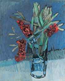 From Sophie Gannon Gallery, Adam Pyett, Red bottlebrush Oil on linen, × 61 cm Cactus Painting, Acrylic Painting Flowers, Fruit Painting, Flower Art, Art Flowers, Potted Flowers, Potted Plants, Floral Artwork, Floral Paintings