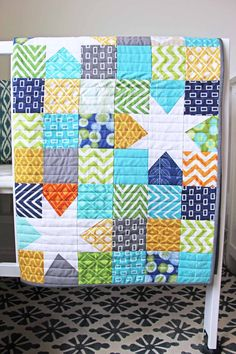 9 patch with stars. Use up scraps. http://www.vanessachristenson.com/2013/04/v-and-co-reverse-hopscotch-done.html
