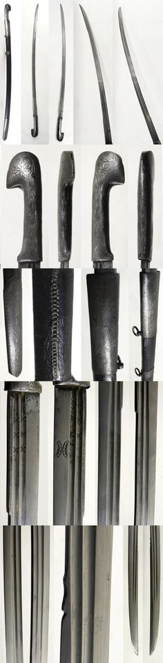 Ottoman (Circassian) shashka type saber, possibly from mid 19th century, the blade might be an older 18th century European made example with double fullers and wider end section featuring Eyelashes marks and triple crosses. The handle and scabbard fittings are decorated with silver koftgari, leather covered Ottoman style scabbard with spiral wire stitching, 36.5 inches, the blade is 31 inches.