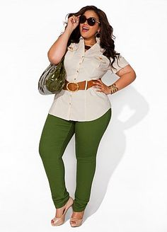 Ashley Stewart....Love the look, especially the dark green jeans