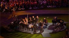 The British Paraorchestra perform 'Strawberry Swing' with Coldplayduring the Summer segment of the Closing Ceremony of the London 2012 Paralympic Games.