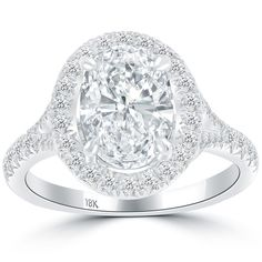 2.70 Ct. D-SI1 Oval Cut Natural Diamond Engagement Ring 18k White Gold Pave Halo #LioriDiamonds #DiamondEngagementRing