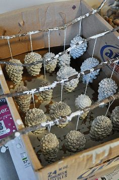 painted pine cone ornaments- could also be really cute centerpieces or winter wedding decorations #winterweddings #christmasweddings