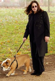 Ozzy Osbourne, walking the dog