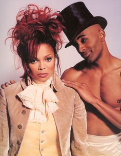 Janet Jackson's Red hair updo