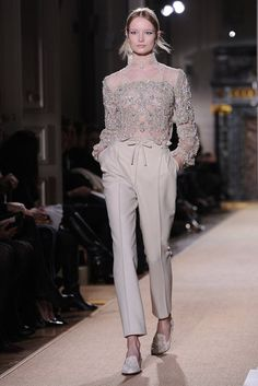 Valentino Spring 2012 Couture: top embellished with crystals and pearls and the pants perfectly tailored