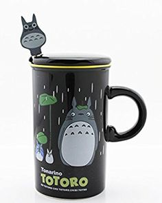 Finex® Totoro 12oz Color Coffee Mug Cup Set with Lid and Spoon (Black)