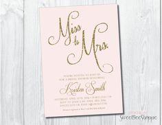 Bridal Shower Invitation, Bridal Shower Invite, Miss to Mrs. Wedding Shower Invitation, Printable, Gold or Silver Glitter, Blush Pink, Mint
