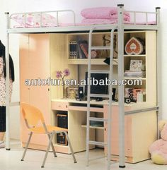 College School Dormitory No Screw Student Metal Bunk Bed With Desk And Wardrobe…