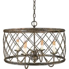 Features:  -Cannot be hung from a sloped ceiling.  -Rod required: Yes.  -Product Type: Semi flush mount.  Product Type: -Semi flush mount.  Finish: -Silver leaf.  Number of Lights: -3.  Bulb Type: -In