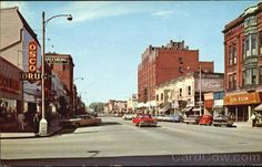 old postcard of downtown Galesburg, Il