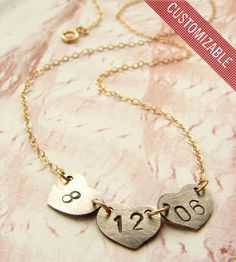 Custom Date or Initials Heart Necklace