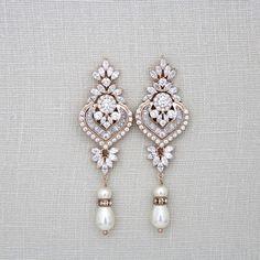 Long Crystal and pearl chandelier earrings