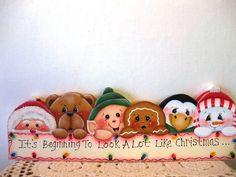 HP Gingerbread Santa snowman penguin elf and bear Shelf Sitter hand painted