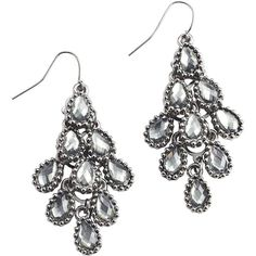 Pier One Black Stone Dangle Earrings ($9) ❤ liked on Polyvore