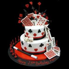 Magic Birthday cake: I could see a centerpiece like this as well. Magic Birthday, Themed Birthday Cakes, Themed Cakes, Happy Birthday, Magician Cake, Magician Party, Fète Casino, Casino Cakes, Celebration Cakes