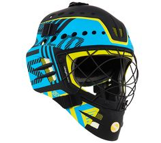 Floorball goalie helmet Street Hockey, Goalie Mask, Hockey Goalie, Helmets, Bicycle Helmet, Masks, Hard Hats, Cycling Helmet, Helmet