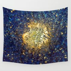 Blue crystals and goldWall TapestryWall by OkopipiDesign on Etsy
