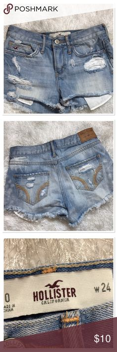 👖Highwaisted Denim Hollister Shorts👖 High waisted distressed denim shorts size 0 or 24 waist.  Denim is distressed by manufacturer raw edged hem. Rips and fading by manufacturer Hollister Shorts Jean Shorts