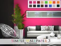 Simple Wallpaper 3 by Pralinesims at TSR via Sims 4 Updates Sims 4 Build, Simple Wallpapers, Gallery Wall, Home Decor Decals, Wood Wallpaper, Sofa Furniture, Sims 4 Bedroom, Furniture Decor