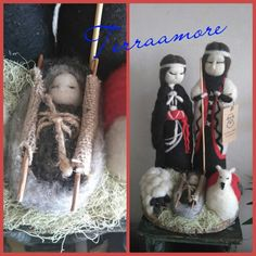 Nacimiento mapuche hecho de vellón Felt Dolls, Needle Felting, Wool Felt, Christmas Ornaments, Holiday Decor, Canela, Feltro, Xmas, Godchild