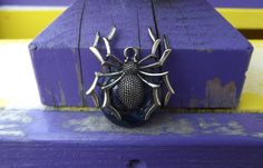Fused Glass Spider Pendant by PiecesofhomeMosaics on Etsy, $22.00